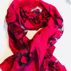 Fall Scarf/Wrap Red Lace
